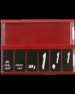 PromoSign Kassetten Fleisch/Wurst, rot, Leporellos-Satz weiß auf schwarz – 25 Stück