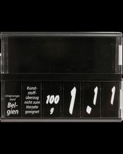 PromoSign Kassetten Käse, schwarz, Leporellos-Satz weiß auf schwarz
