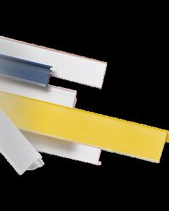 Regalpreisleiste, Klebeprofil, weiß/transparent, 40 x 1235 mm mit Acryl-Klebeband 12 mm