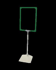 Rahmenständer DIN A4, grün, Aluminium-Teleskoprohr