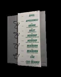 Assortiment textes fruits & légumes blanc - vert, Allemand