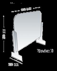 Écran de protection Meto Modèle B paroi et pieds avec passage droit