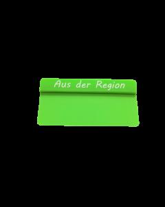 """PVC-Karten Reiter grün """"AUS DER REGION"""" gross"""