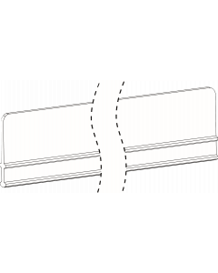 1'238 mm, Vitre avant E045, pour étagères en U