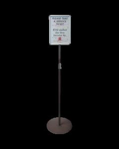 Turn-o-matic Standfuß FS902 mit Teleskoprohr und Hinweisschild