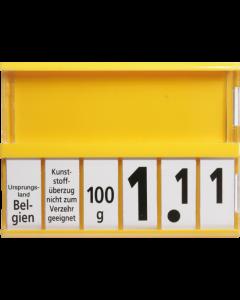 PromoSign Kassetten Käse, gelb, Leporellos-Satz schwarz auf weiß