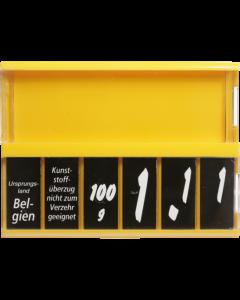 PromoSign Kassetten Käse, gelb, Leporellos-Satz weiß auf schwarz