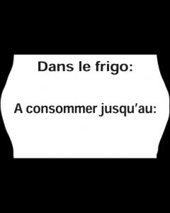 """Etiquettes Meto Gastro, 26x16 mm, blanches, congélation """"Dans le frigo: / A consommer jusqu'au:"""""""