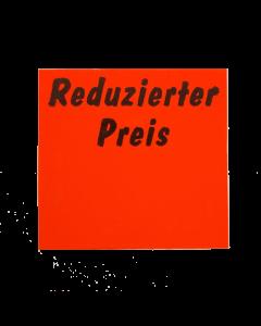 """Etiquettes promotions Meto, 29x28 mm, rouges fluo, permanent """"Reduzierter Preis"""""""