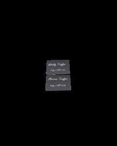 Cartes PVC noires mattes, 0.5 mm, CR80 coupées verticalement en 2 parties