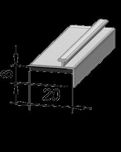 Rail adaptateur en T A004, avec rebord plié, 995 mm, adhésif