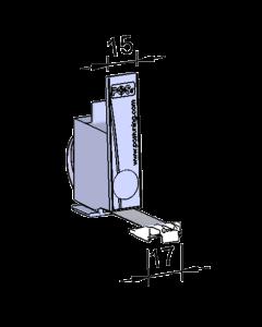 Poussoir / pusher, avec butée frontale, largeur 15 mm, hauteur 68 mm, 1.5 Newton