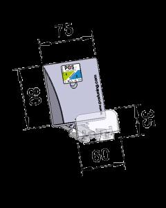 Poussoir / pusher avec plateau poussoir incliné, avec butée frontale 35 mm, largeur 75 mm, hauteur 80 mm, 10-14 Newton