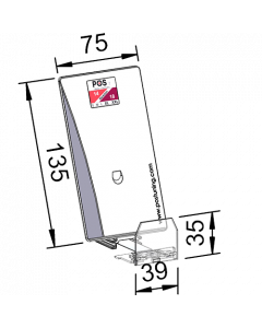 Poussoir / pusher avec plateau poussoir incliné, avec butée frontale 35 mm, largeur 75 mm, hauteur 135 mm, 10-14 Newton