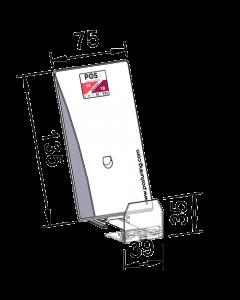 Poussoir / pusher avec plateau poussoir incliné, avec butée frontale 35 mm, largeur 75 mm, hauteur 135 mm, 14-18 Newton