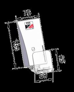 Warenvorschub / Pusher, mit schräger Vorschubplatte, mit Frontanschlag 65 mm, Breite 75mm Höhe 135 mm, 14-18 Newton